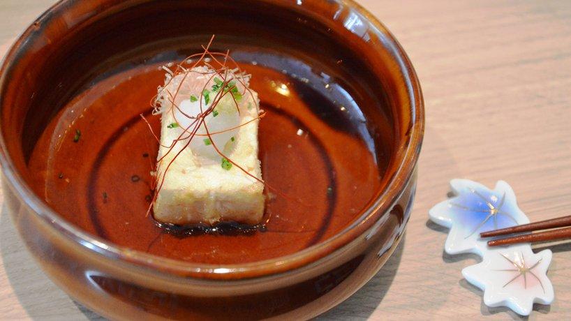 Gebackener Tofu in Miso Suppe