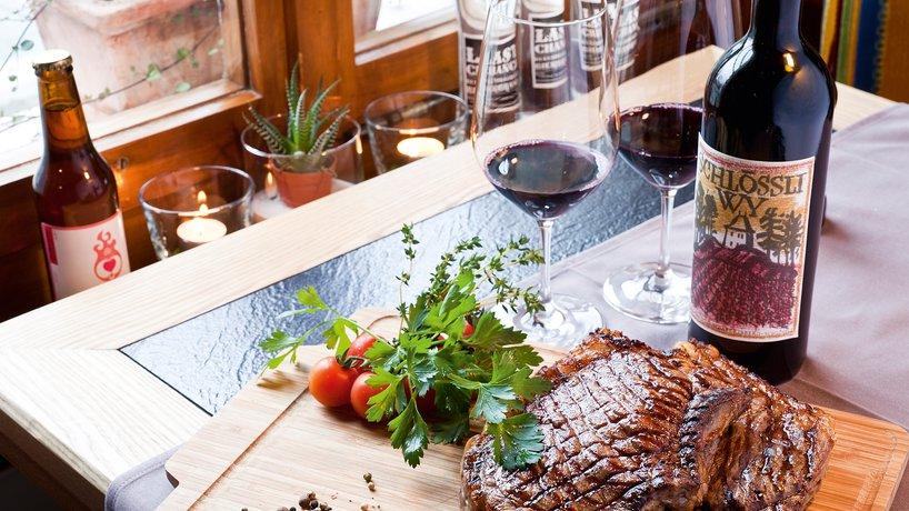 Cote de boeuf mit Wein