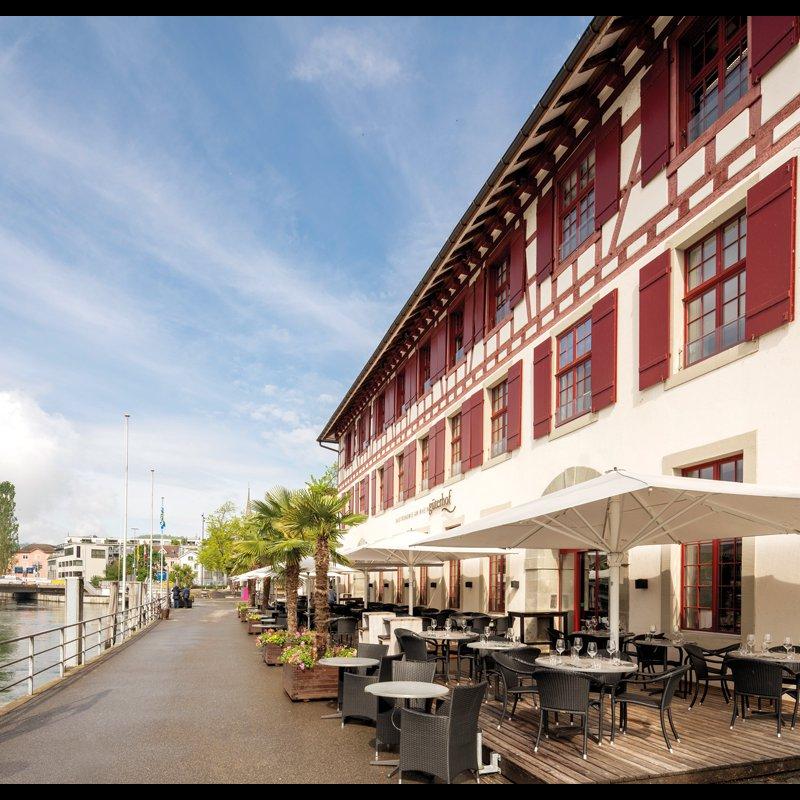 Terrasse direkt am Rheinufer