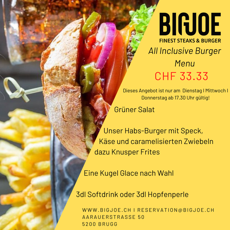 All inclusive Burger Menu