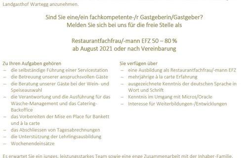 Restaurantfachfrau/-mann EFZ 50 – 80 % ab August 2021 oder nach Vereinbarung