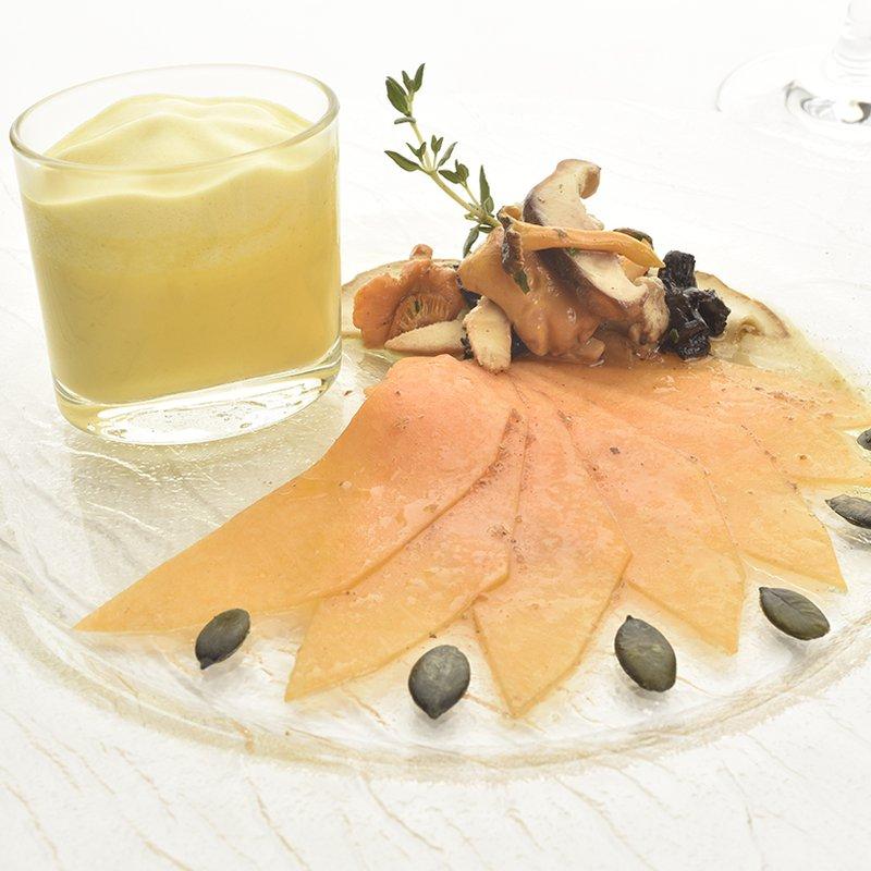 Duett vom Kürbis mit marinierten Pilzen