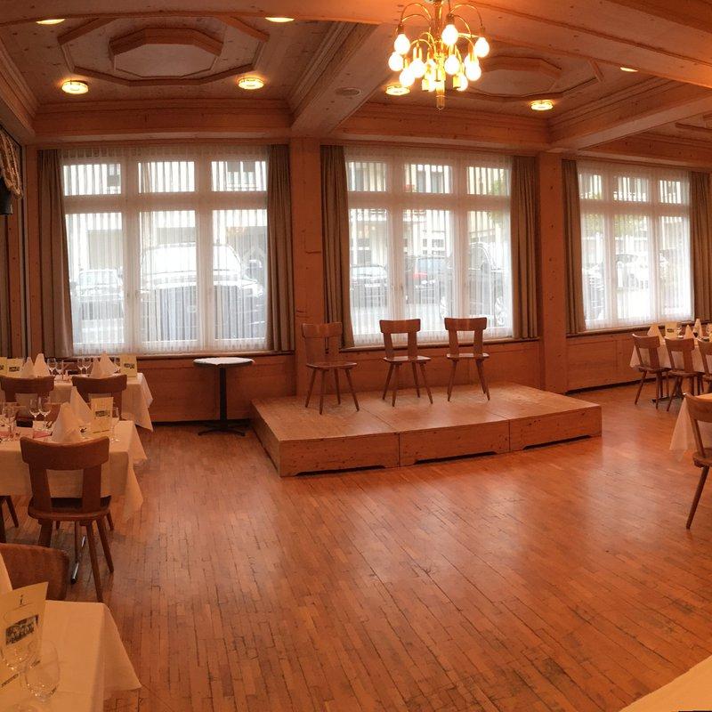 Festsaal für Älplerchilbi vorbereitet, Landgasthof Schlüssel Alpnach
