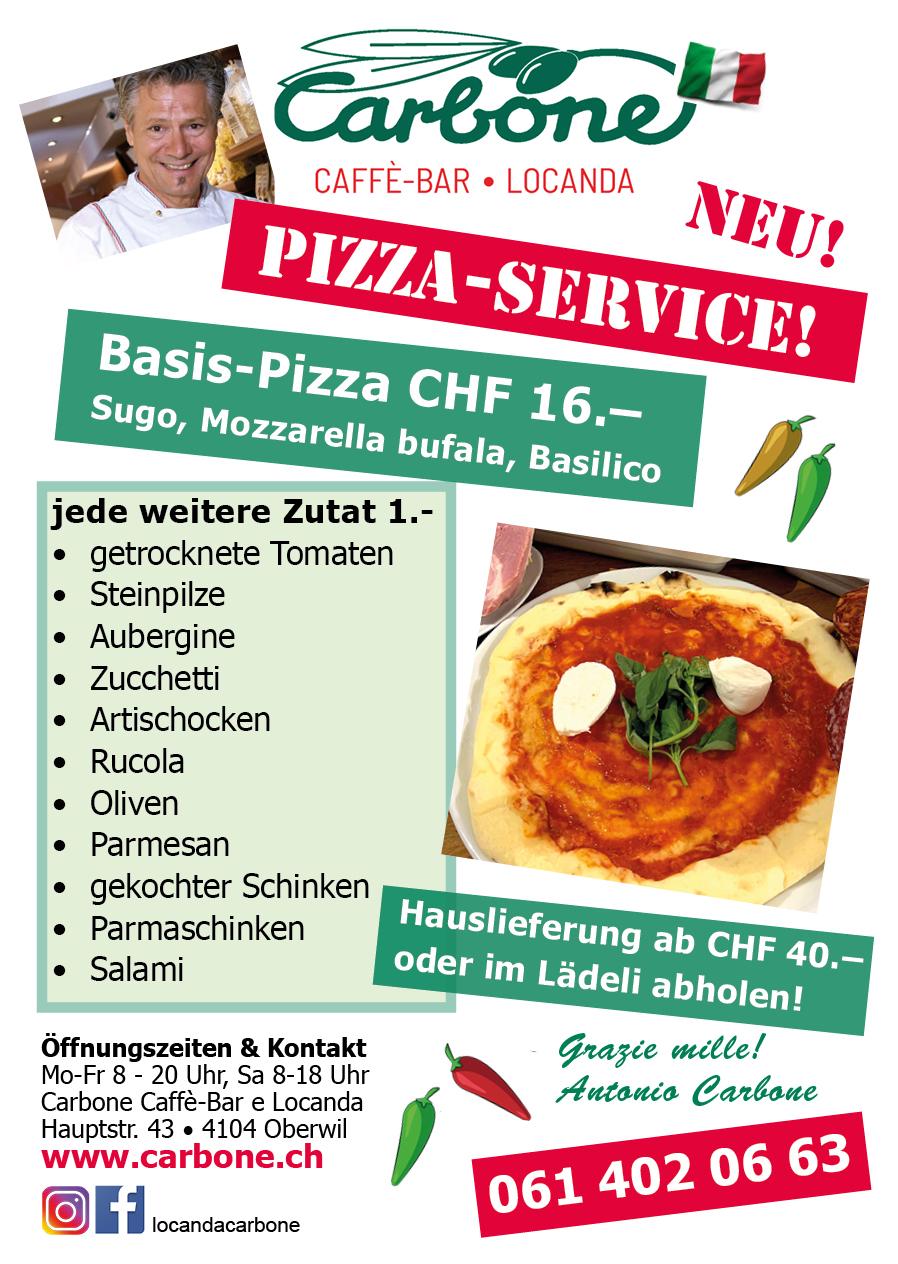 Neu: Pizzaservice Carbone