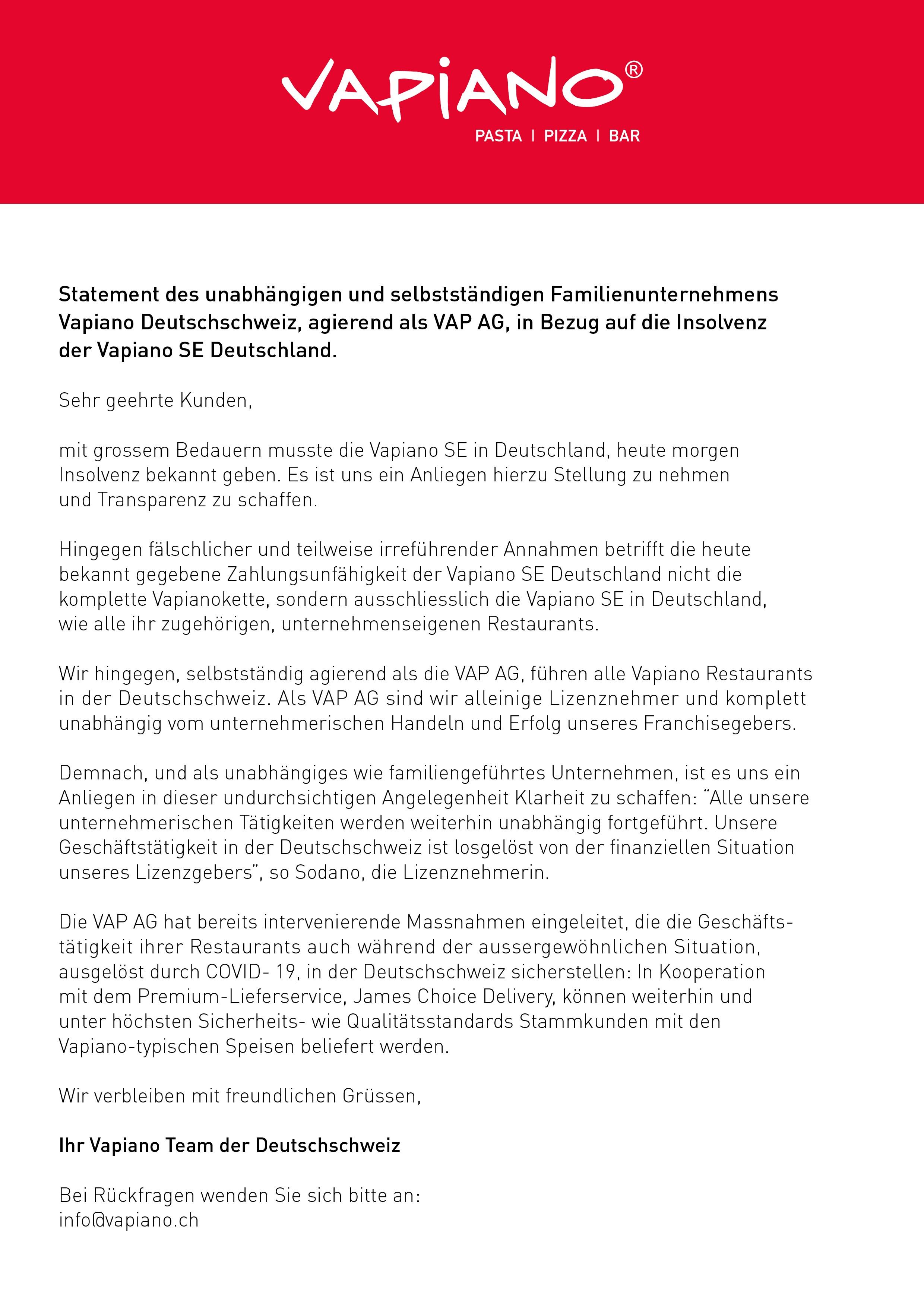 Statement zu Insolvenz Vapiano SE Deutschland